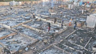 Photo of Syrian refugee camp burnt to ground in Lebanon