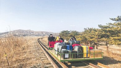 Photo of Russian diplomats use rail trolley to travel from North Korea