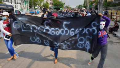 Photo of Myanmar protesters march three months after coup